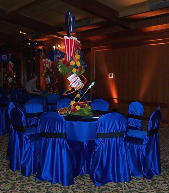 Chair Cover And Tablecloth Rentals linens royal blue sateen chair covers royal blue sateen w black band